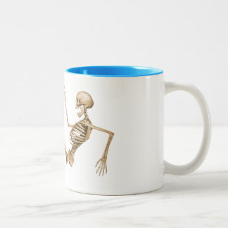 Skeleton on Roller Skates Two-Tone Mug
