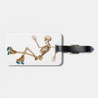 Skeleton on Roller Skates Tag For Bags