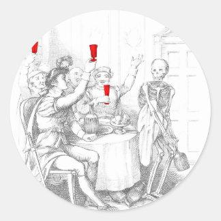 Skeleton Opens a Bottle of Spirits Round Sticker