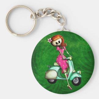 Skeleton Pin Up Girl on Scooter Key Ring