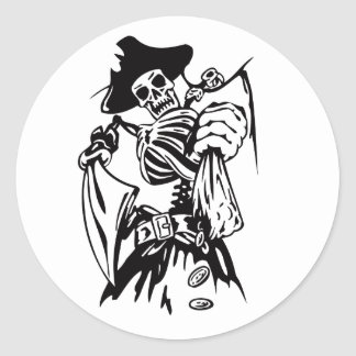 Skeleton Pirate Fighter Sword Tattoo Style Artwork Classic Round Sticker