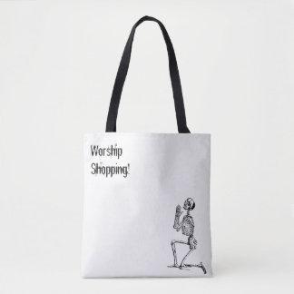 Skeleton Praying Shopping Worship Tote Bag