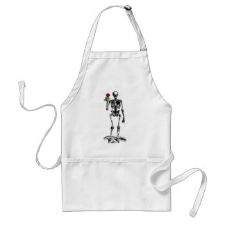 SKELETON RED ROSE AND HEART VINTAGE PRINT STANDARD APRON