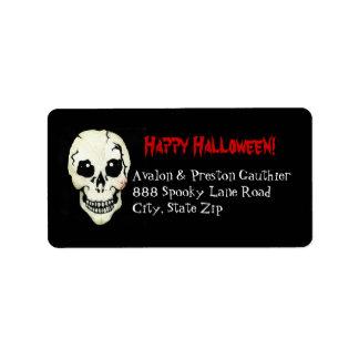 Skeleton Red Skull Spooky Halloween Address Labels