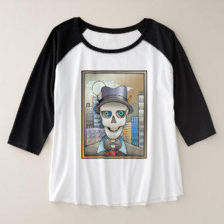 Skeleton Reporter Plus Size Raglan T-Shirt