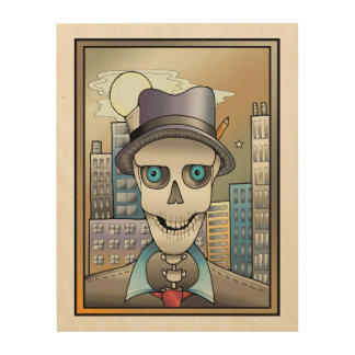 Skeleton Reporter Wood Wall Decor