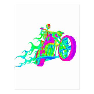 Skeleton Riding a Motorcycle Postcard
