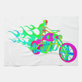 Skeleton Riding a Motorcycle Tea Towel