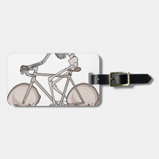 Skeleton Riding Bike With Skull Wheels Luggage Tag