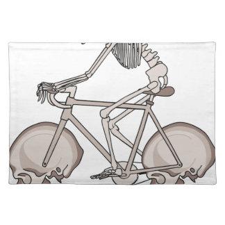 Skeleton Riding Bike With Skull Wheels Placemat