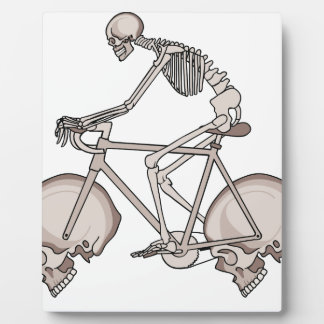 Skeleton Riding Bike With Skull Wheels Plaque