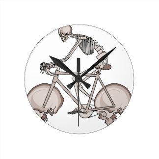 Skeleton Riding Bike With Skull Wheels Round Clock