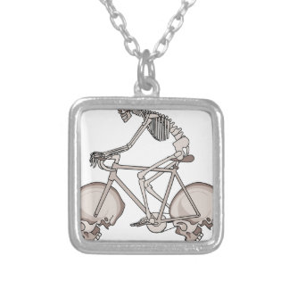 Skeleton Riding Bike With Skull Wheels Silver Plated Necklace