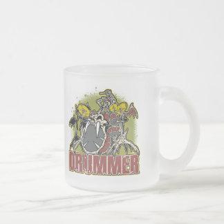 Skeleton Rock Drummer Frosted Glass Mug