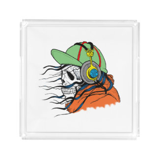 Skeleton Rocking wearing headphones Acrylic Tray