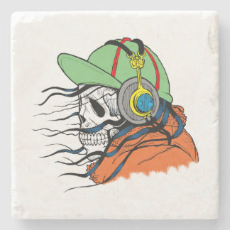 Skeleton Rocking wearing headphones Stone Coaster