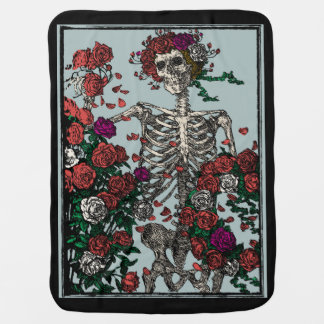 Skeleton & Roses Baby Blanket