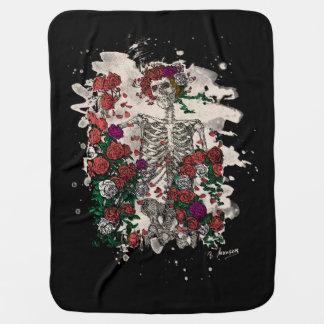 Skeleton & Roses - bleached version Baby Blanket