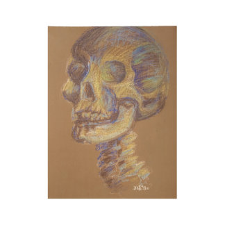 Skeleton Sketch Art Wood Poster