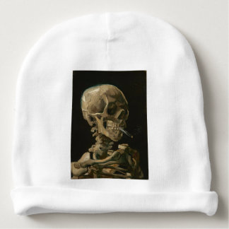Skeleton Skull with Burning Cigarette by Van Gogh Baby Beanie