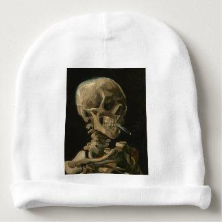 Skeleton Skull with Burning Cigarette by Van Gogh Baby Beanie