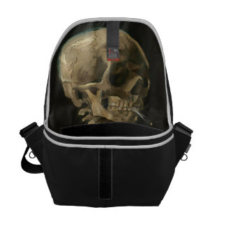 Skeleton Skull with Burning Cigarette by Van Gogh Commuter Bags