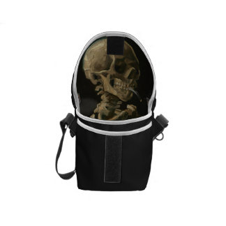Skeleton Skull with Burning Cigarette by Van Gogh Messenger Bag