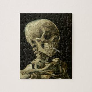 Skeleton Skull with Burning Cigarette Jigsaw Puzzle