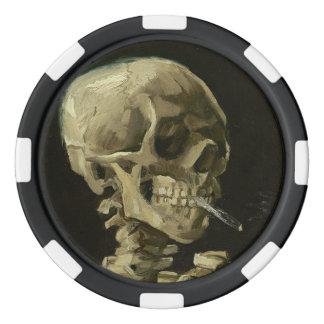 Skeleton Skull with Burning Cigarette Poker Chips