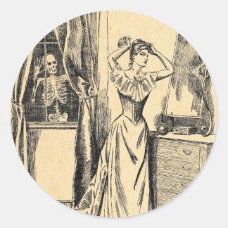 Skeleton Spying on Victorian Lady Vintage Goth Art Round Sticker