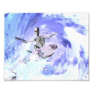 Skeleton surfer photo print
