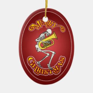 Skeleton Tuba Player Christmas Ornament