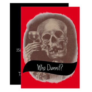 Skeleton Who Dunnit? Mystery Wine Invitations