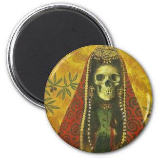 Skeleton Witch Design 6 Cm Round Magnet