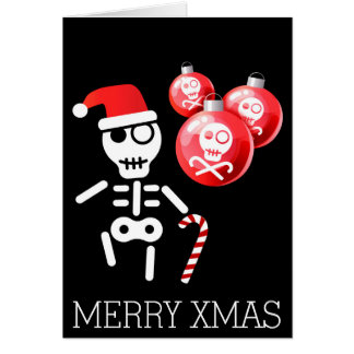 Skeleton with candy cane, santa hat card