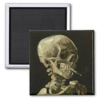 Skeleton with cigarette by Van Gogh Fridge Magnets
