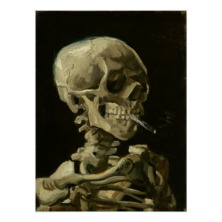 Skeleton with cigarette by Van Gogh Posters