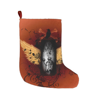 Skeleton with crow large christmas stocking