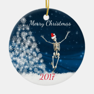 "Skeleton with Santa Hat ""Christmas 20xx"" Ceramic Ornament"