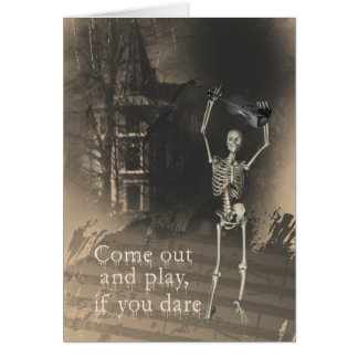 Skeleton with Violin Dares You to Come Out & Play Card