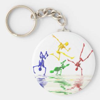 Skeletons breakdancing key ring
