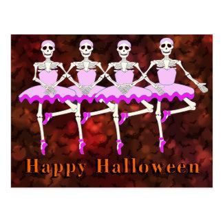 """Skeletons Dancing Ballet """"Happy Halloween"""" Postcard"""