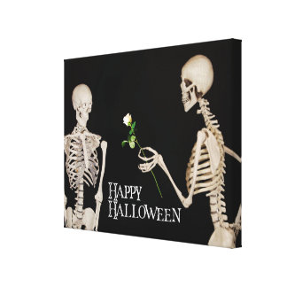 Skeletons Funny Romantic Happy Halloween Canvas Print