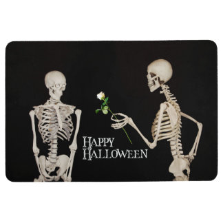 Skeletons Funny Romantic Happy Halloween Floor Mat