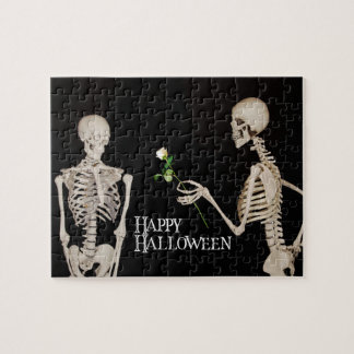 Skeletons Funny Romantic Happy Halloween Jigsaw Puzzle
