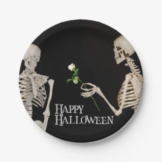 Skeletons Funny Romantic Happy Halloween Paper Plate