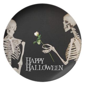 Skeletons Funny Romantic Happy Halloween Plate