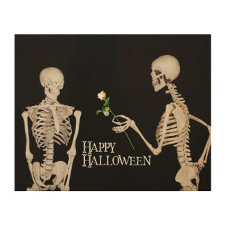 Skeletons Funny Romantic Happy Halloween Wood Print