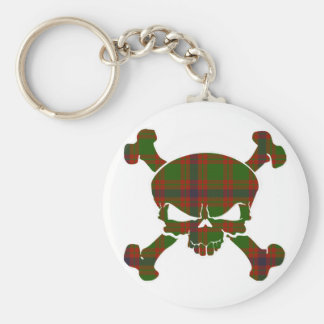 Skene Tartan Skull No Banner Basic Round Button Key Ring