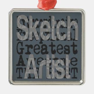 Sketch Artist Extraordinaire Silver-Colored Square Decoration